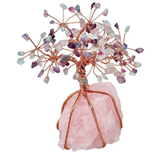 mookaitedecor Fluorite Crystal Tree, Raw Crystals Rose Quartz Base Bonsai Money Tree for Wealth and Luck
