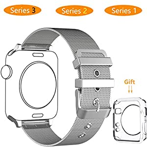 Smart Watch Band 38mm, Jihibo Band for Apple Watch 38mm Series 3 / Series2 / Series1 Sport Edition.(ML38mm-Silver)