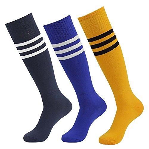 [Multicolor Socks for Men Women Tube Dress Soft Fancy Design Good Athletic Sports Socks with Stripe (3pairs-Black Blue Orange)] (Womens Sport Fancy Dress)