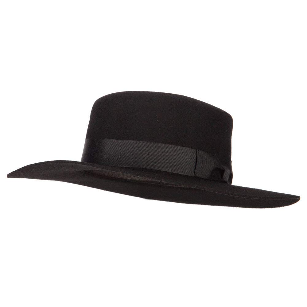 Jeanne Simmons Women's Wool Felt Wide Satin Ribbon Trim Bolero Fedora Hat - Black OSFM by Jeanne Simmons