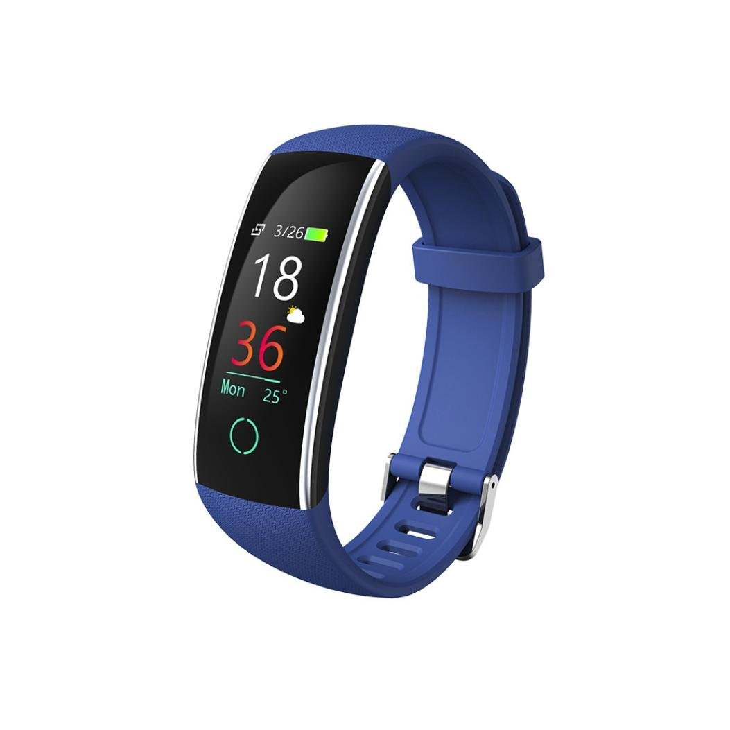 New Smart Watch, Waterproof Heart Rate IC Blood Pressure Support Call/SMS Tip Smart Watch for Android IOS (Blue)