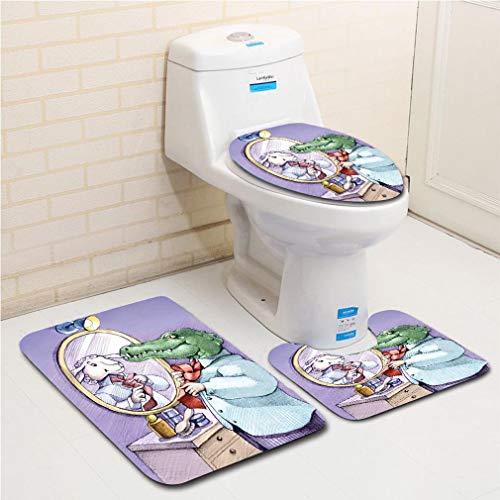 Family bathroom set of 3, bathroom rug + contour pad + lid -