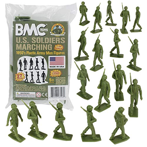BMC Marx Plastic Army Men Marching US Soldiers - Green 27pc WW2 Figures US Made from BMC Toys