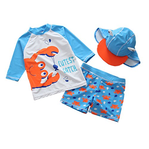 Toddler Baby Boy Swimsuit Two Pieces Long Sleeve Rashguard Sun Protective Swimwear with Hat 12-18 Months by Kimjun