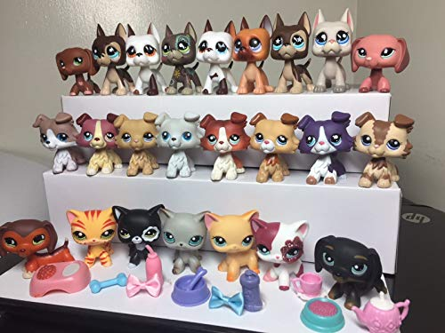 Love Pets lps Pets 4pcs Random lps Short Hair Cat lps Collie lps Great Dane Dog with Lps Accessories Lot 5pcs Random Suprise Puppy with Kitty Colection Figures