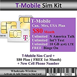 Activate-In 15 Mins T-Mobile Sim + $80 Can, Mex, USA Plan ( Free 1st Month)