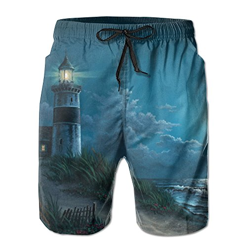 Night Lighthouse Men's Board Shorts Casual Quick-Dry Bathing Suits Swim Trunks Cargo Shorts With (Lighthouse Trunk)