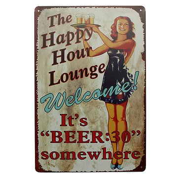 Lounge Beer Tin Sign Vintage Metal Plaque Pub Bar Home Wall Decor^.