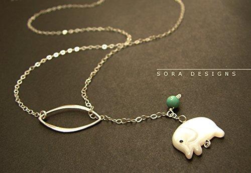 Elephant lariat necklace, elephant pendant sterling silver lariat white elephant charm necklace, tiny elephant charm necklace