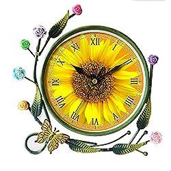GIRLSIGHT Iron Art Living Room Butterfly Flower Leaf Decorative Non-Ticking Quartz, Analog Large Numerals Bedside Table Desk Alarm Clock-588.Sun Flower, Sunflower, Summer, Flowers, Sun, Plant