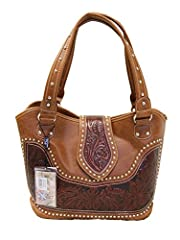 "Montana West brand western style ladies purse with concealed handgun pocket on back. Made with high quality PU leather and tooled genuine leather, a center flap cover over to front of purse, decorated with silver studs.       Size: 12""..."