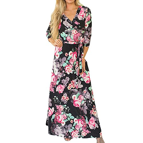 Hat Scrub Poppy - QueenMM  Women's Floral Printed V-Neck 3/4 Sleeve Casual Maxi Dress Boho Summer Beach Sheer Long Dress Black