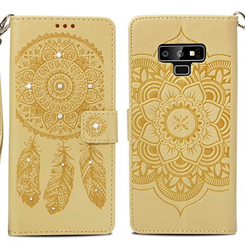 Rouge Fleur Bonroy 9 point Etui Point Coque Vent Diamants Case Samsung Flip Housse Note Or Galaxy Carillon Cuir En Portefeuille Pour 9 Premium T1Tr6xZ