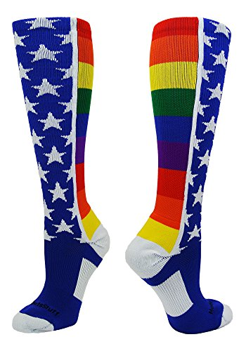 MadSportsStuff Rainbow Pride OTC Socks (Multi, Large) from MadSportsStuff