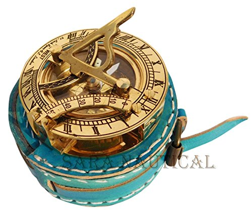 Sara Nautical Vintage F.L. West Brass Sundial Compass Unique Leather Case Collectible item by Sara Nautical
