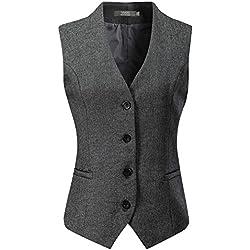 Vocni Women's Fully Lined 4 Button V-Neck Economy Dressy Suit Vest Waistcoat, Gray, US S+ (Asia XXL)
