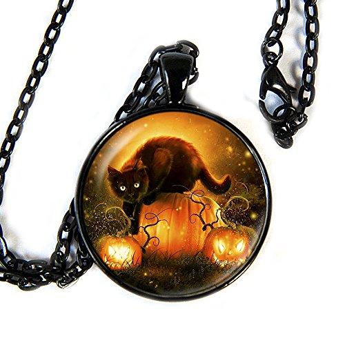 Black Cat Pumpkin Halloween - Pendant Necklace - (Halloween Love Superstitions)