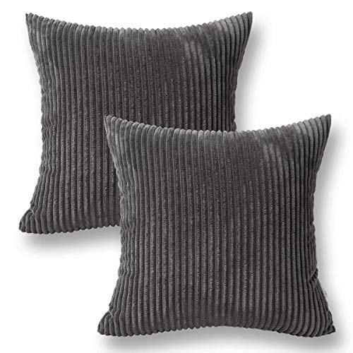Jeanerlor Corduroy Velvet Solid Decorative Pillow Cover Grey Euro Sham 26