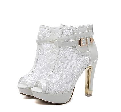 0023ce1da7498 MARCU HOME Women s Short Boots Super High Heel-fashion Fish Mouth Shoes  Sandals Boots-