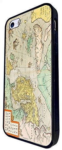 1111 - Cool Fun Vintage World Map Marine Navigation Design iphone SE - 2016 Coque Fashion Trend Case Coque Protection Cover plastique et métal - Noir