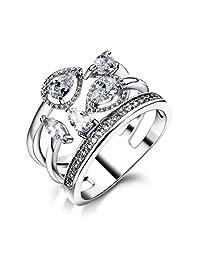 Epinki Stainless Steel Women Wedding Engagement Ring Teardrop Pear Shape Cubic Zirconia Silver