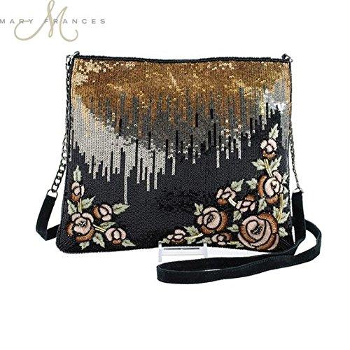 Handbag Sequined Floral - Mary Frances Sequin Showers Extensively Sequined Bejeweled Floral Embroidered Embellished Handbag Shoulder Bag