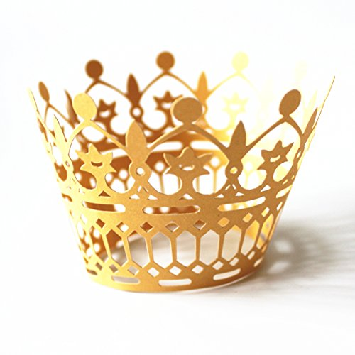 TOOGOO Crown Filigree Cupcake Wrappers Cases Cake Holder Pack of 50 - Gold, 8 x 5 x 5cm