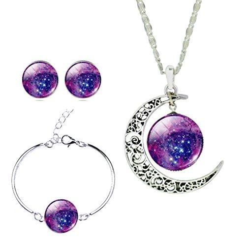 - JIAYIQI Women Shiny Starry Sky Crescent Luna Crystal Gemstone Stud Earrings Bracelet Bangle Pendant Necklace