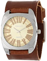 Nemesis Womens BHST098Y Brown Collection Retro Roman Leather Band Watch