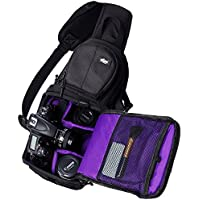 Qipi Camera Bag - Sling Style Camera Backpack with Padded Crossbody Strap - for DSLR & Mirrorless Cameras (Nikon, Canon, Sony) - Black