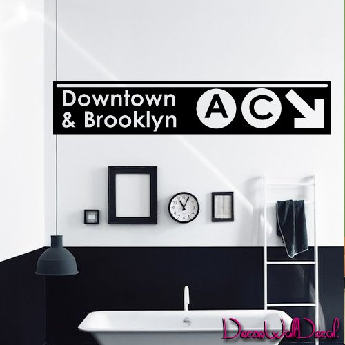 Wall Decal Decor Decals Sticker Art Downtown and Brooklyn Subway Signboard Inscription Sign M1589 Maden in - Downtown Brooklyn Store