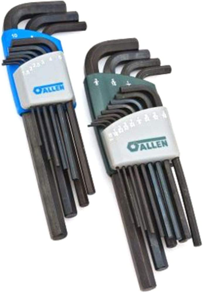 Pack of 2 Allen Wrench; 22Pc Long Arm SAE//Metric Hex Key Set; Temp Alloy Steel; w//Caddies