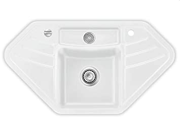 Systemceram Vega Eck Polar Keramik-Spüle Excenterbetätigung Weiß ...