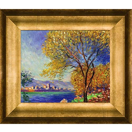 (overstockArt MON2476-FR-99468X10 Monet Antibes View of Salis with Athenian Gold Antique Gold Finish)
