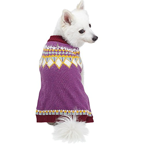 Blueberry Pet 4 Patterns Icelandic Lopi Feather Yarn Pullover Dog Sweater in Light Plum, Back Length 16