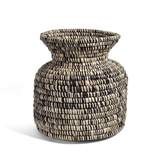 All Across Africa Handwoven Raffia Vase, Heathered Black and Ivory