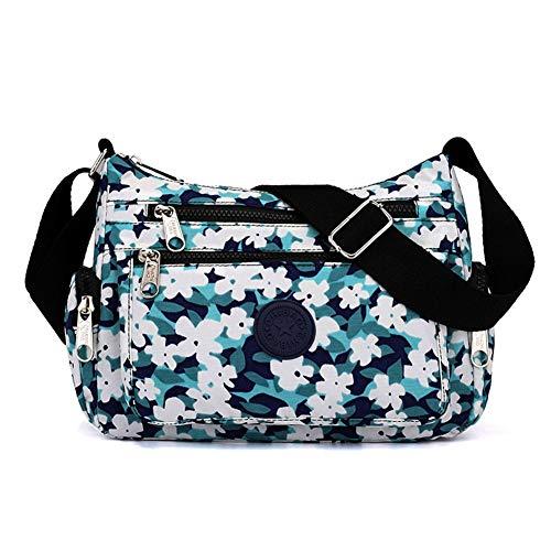 Kukoo Multi Pocket Crossbody Bag Spacious Shoulder Purse Waterproof Travel Handbags for Women (Floral Blue)