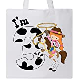 Inktastic - I'm Three-cowgirl riding horse birthday Tote Bag White 2ca54