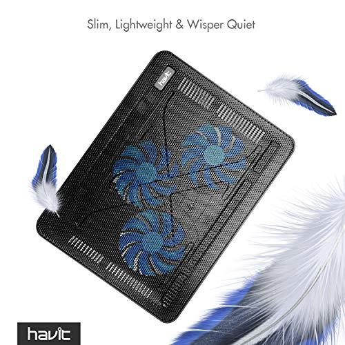 Havit HV-F2056 15.6''-17'' Laptop Cooler Cooling Pad - Slim Portable USB Powered (3 Fans) (Black+Blue) by Havit (Image #2)