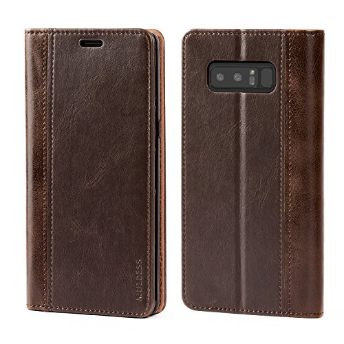 Galaxy Note 8 Case,Mulbess BookStyle Leather Wallet Case Cover with Kick Stand for Samsung Galaxy Note 8,Chocolate Brown