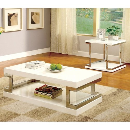Modern Lolie 2-Piece White Gloss Wood Accent Coffee and End Table Set by Furniture of America (Gloss Coffee)