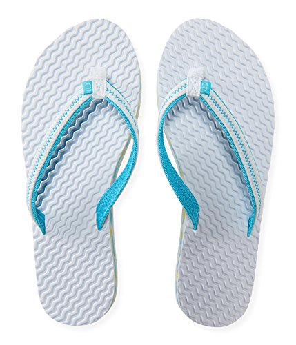 Aeropostale Womens Molded Camo Flip Flop Sandals, White, 6 B(M) US