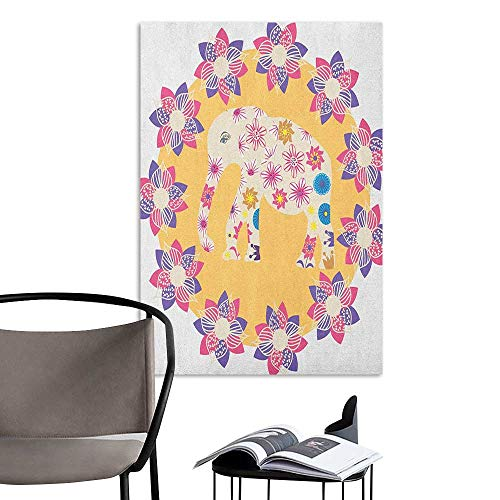 Alexandear Home Decor Decals Mural Kids Colorful Natural Wildlife Animal with Various Flowers Cartoon Style Thai Baby Elephant Multicolor Landscape Scenery Painting W32 x H48 - Stick Coco Frame Natural