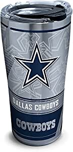 Tervis 1266717 - Vaso de acero inoxidable, con tapa de martillo color negro, diseño NFL Dallas Cowboys, transparente, color negro, Plateado, 20 oz Stainless Steel, 1