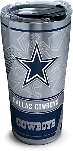 Tervis 1266716 NFL Dallas Cowboys Edge Stainless Steel Tumbler with Clear and Black Hammer Lid 20oz, Silver