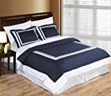 Best Royal Hotel duvet cover - Hotel Navy and White 3pc Full / Queen Review