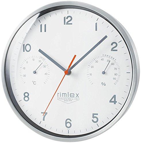 ノア精密 rimlex ラウ 温湿度付き電波時計 W-692 掛け時計 掛時計 壁掛け時計 壁掛時計 夜間秒針停止機能 連続秒針 おしゃれ B01M59UR8V