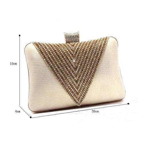 KAXIDY Elegante Diamant Abendtaschen Gold Unterarmtasche Clutchs Bags