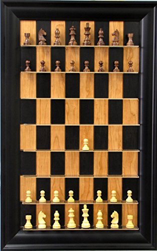Rosewood Chess set on Black Cherry vertical Straight Up Chess Board (Straight Up Chess Board)