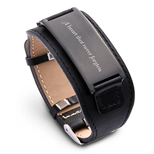 Engraved Black Leather (Personalize Custom Free Engraved Brown Black Leather Stainless Steel Bracelet Cuff For Men Women (Black leather & Black))